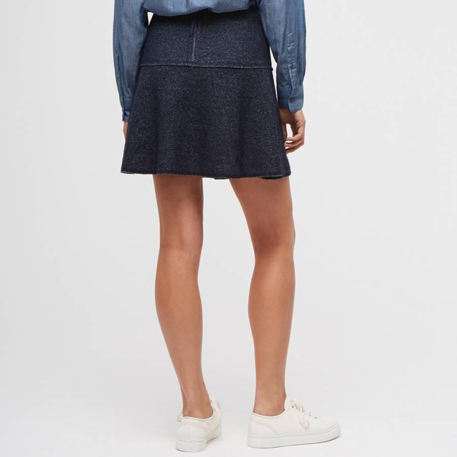 womens navy speckled wool flared skirt brandalley