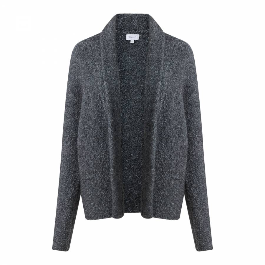 d54a50033 Dark Grey Boucle Wool Knit Cardigan - BrandAlley