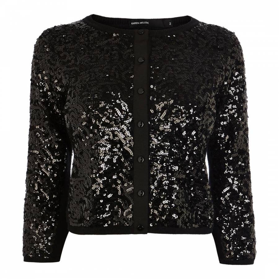 Black Sequin Cardigan - BrandAlley