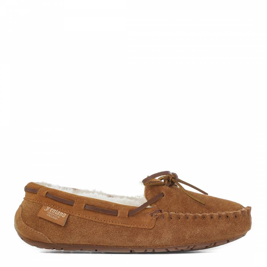 f33f871ee270 Fenlands Sheepskin Ladies Tan Moccasin Slippers