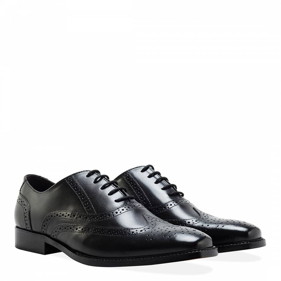 a11d844e9d5 Men s Black Leather Oxford Brogue Shoes - BrandAlley
