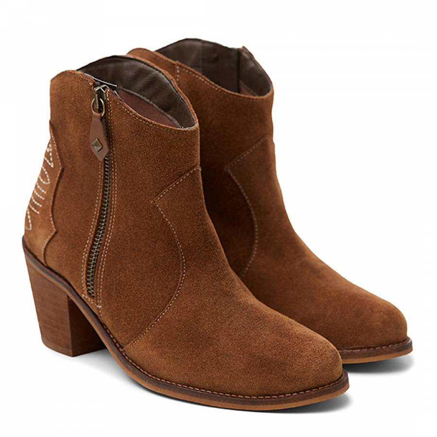 6c959058f6d Brown Suede Western Ankle Boots