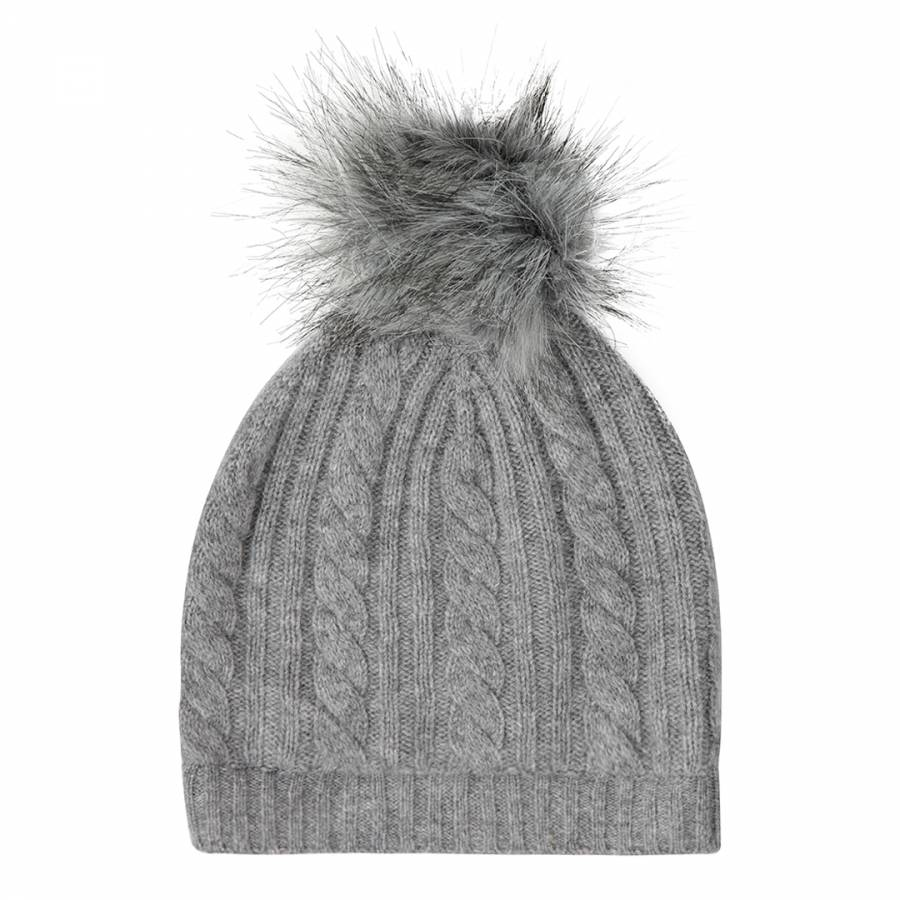 cb51519b0a9 Laycuna London Grey Marl Cashmere Cable Knit Faux Fur Bobble Hat