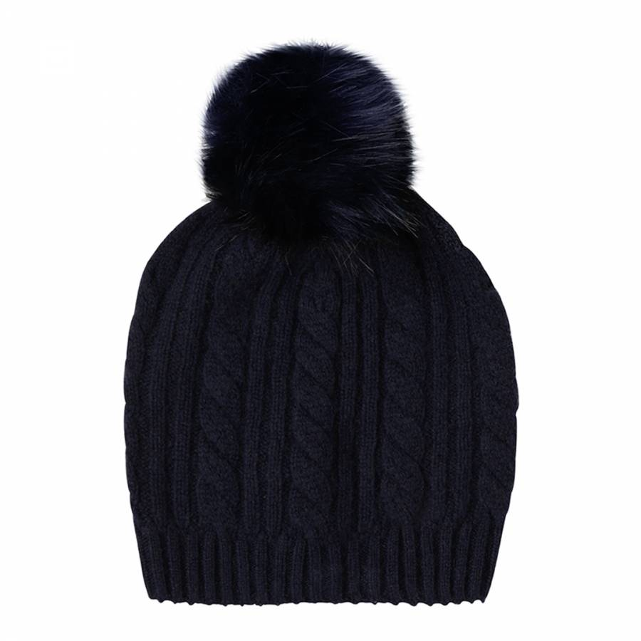 Laycuna London Navy Cashmere Cable Knit Faux Fur Bobble Hat dc3d9f468189