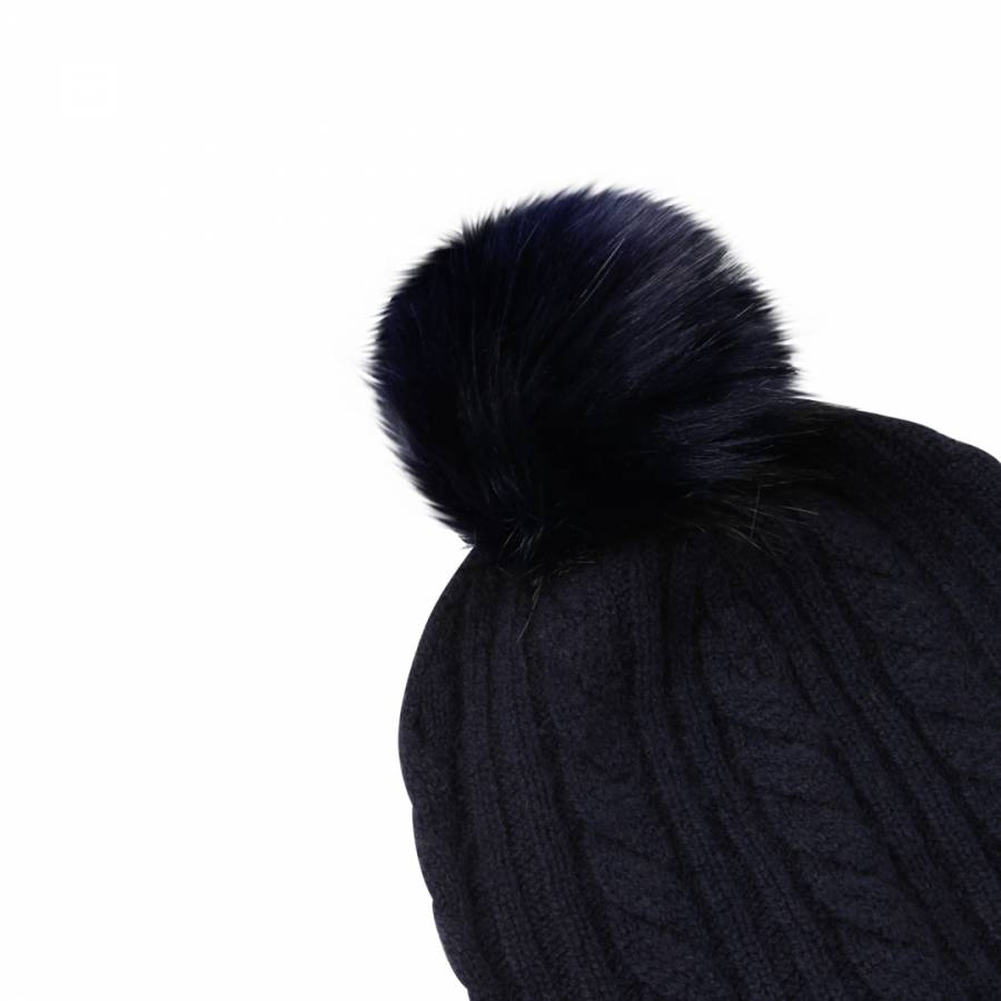 Navy Cashmere Cable Knit Faux Fur Bobble Hat - BrandAlley 9f914e669d5f
