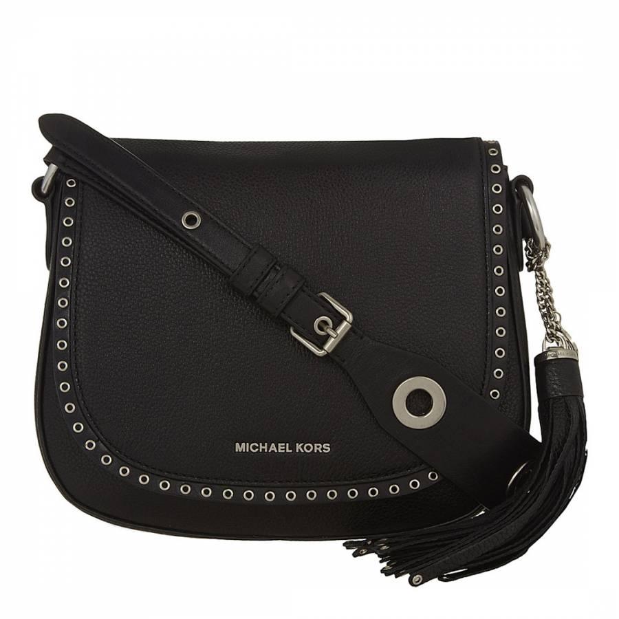 5dfa9a3a5b52 Michael Kors Black Leather Brooklyn Saddle Bag