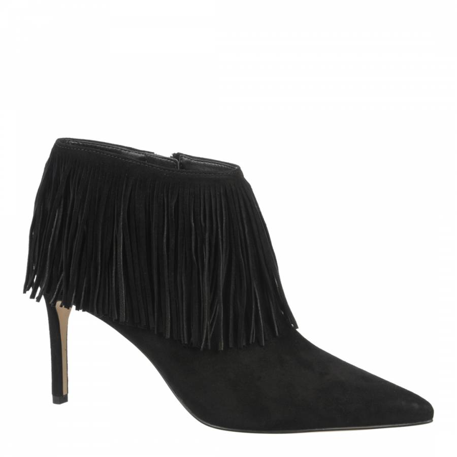 635495963 Black Suede Fringed Stiletto Heel Kandice Boots - BrandAlley