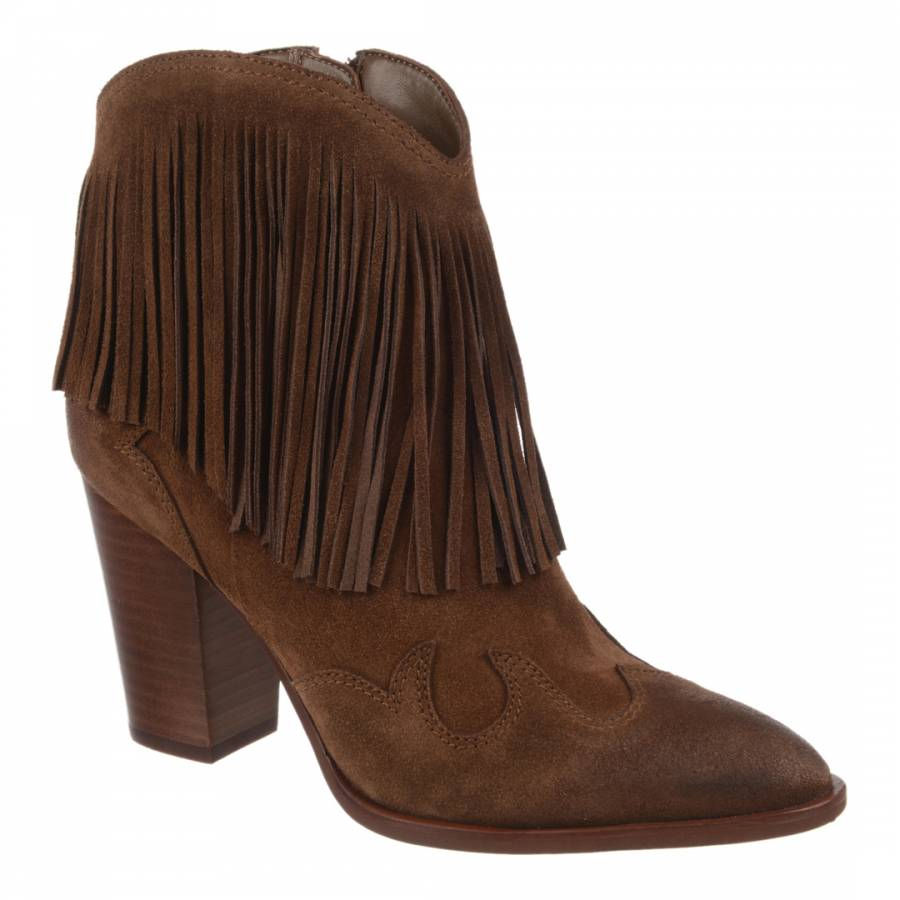 087d20e475216 Sam Edelman Woodland Brown Suede Fringed Benjie Ankle Boots. prev. next.  Zoom