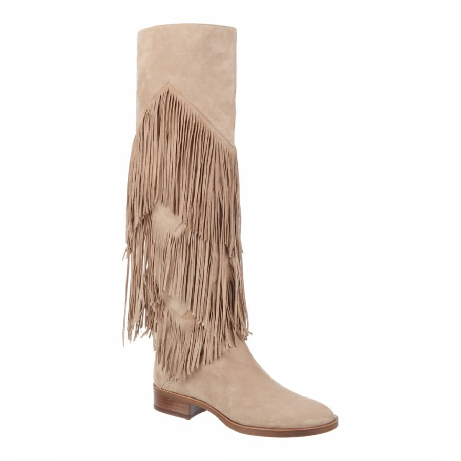 Sam Edelman Oatmeal Suede Pendra Fringed Over The Knee Boots