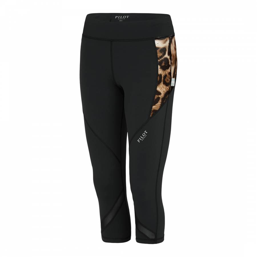 9a011df7555222 Pilot Athletic Black Aviatrix Cheetah 3/4 Leggings
