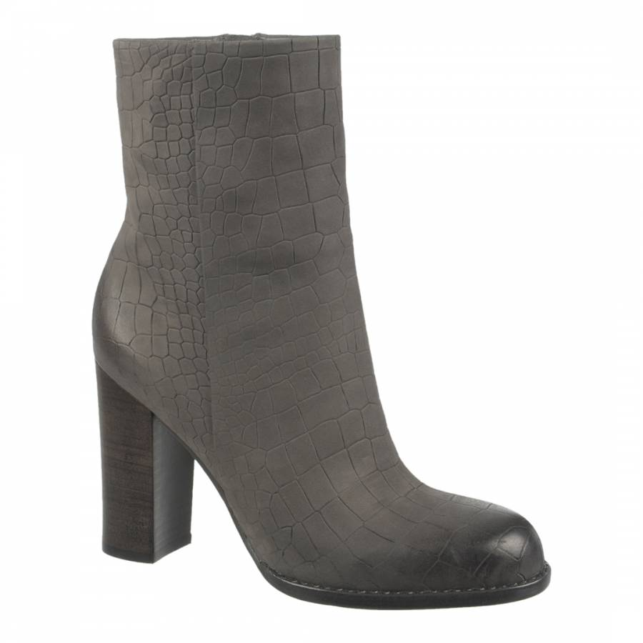 4d2709edd Grey Leather Reyes Croc Effect Heeled Ankle Boots - BrandAlley