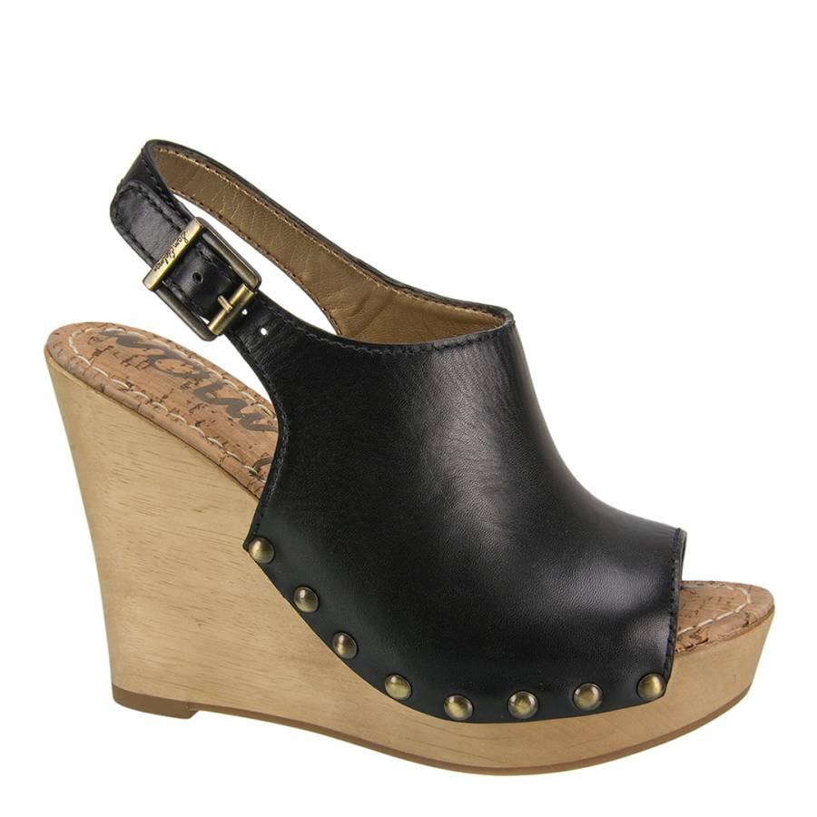 521470a1f584 Black Leather Camilla Wedge Cloggs - BrandAlley