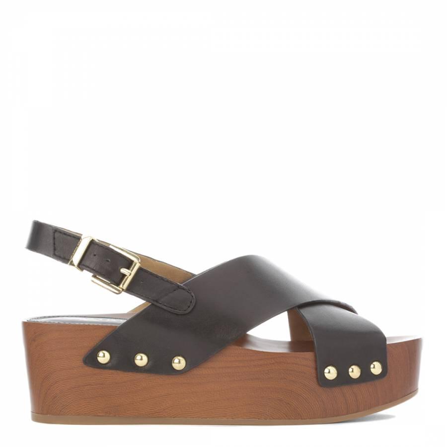 Image of Black Leather Bentlee Slingback Flatforms