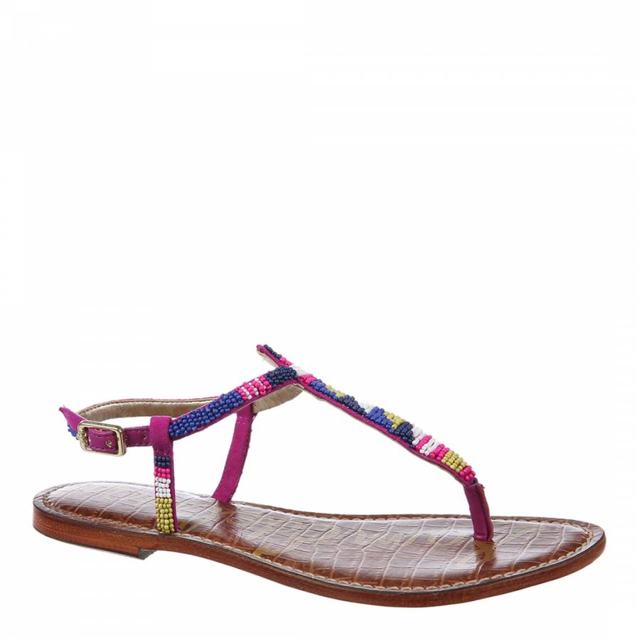 5a07c29ea7a7 Sam Edelman Pink And Blue Suede Beaded Gail Sandals. prev. next. Zoom