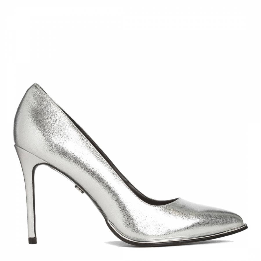 KG Kurt Geiger Silver Beauty Metal Rand Court Shoes