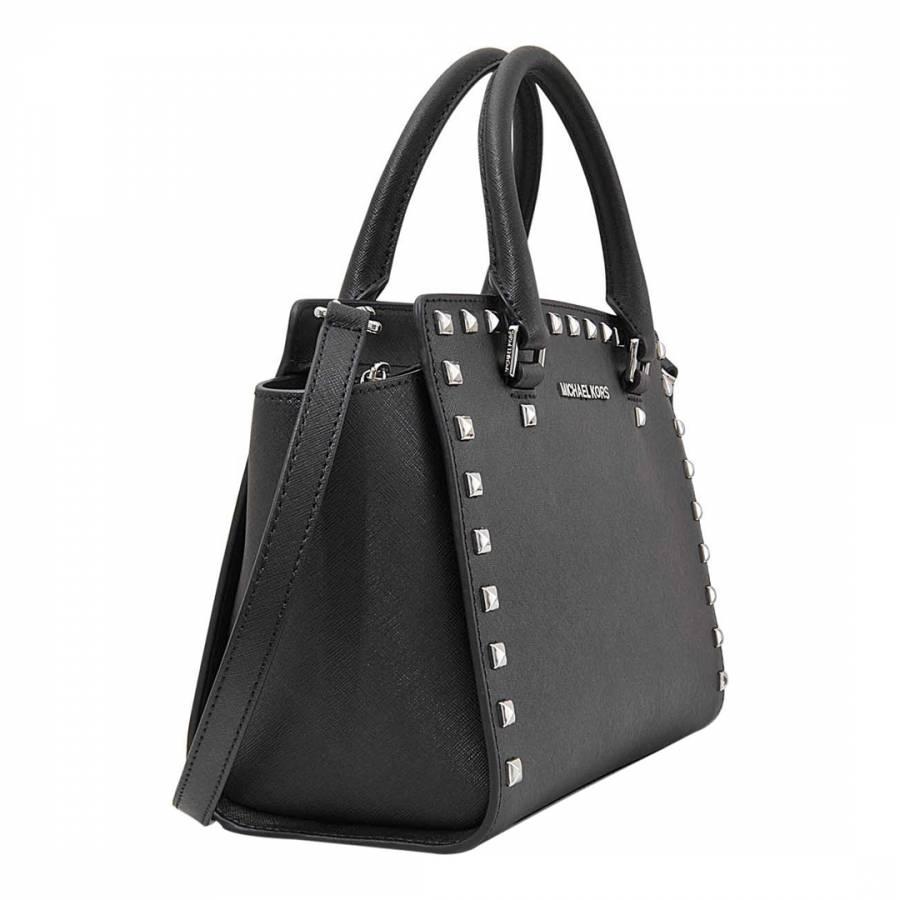 43a5796a09bb Black Leather Selma Large Studded Messenger Bag - BrandAlley