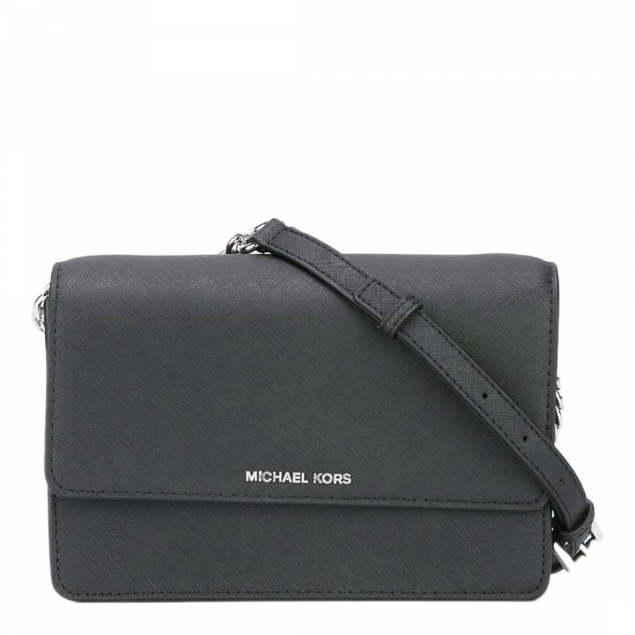 68c1a58b42f2 Michael Kors Black Leather Daniela Small Crossbody