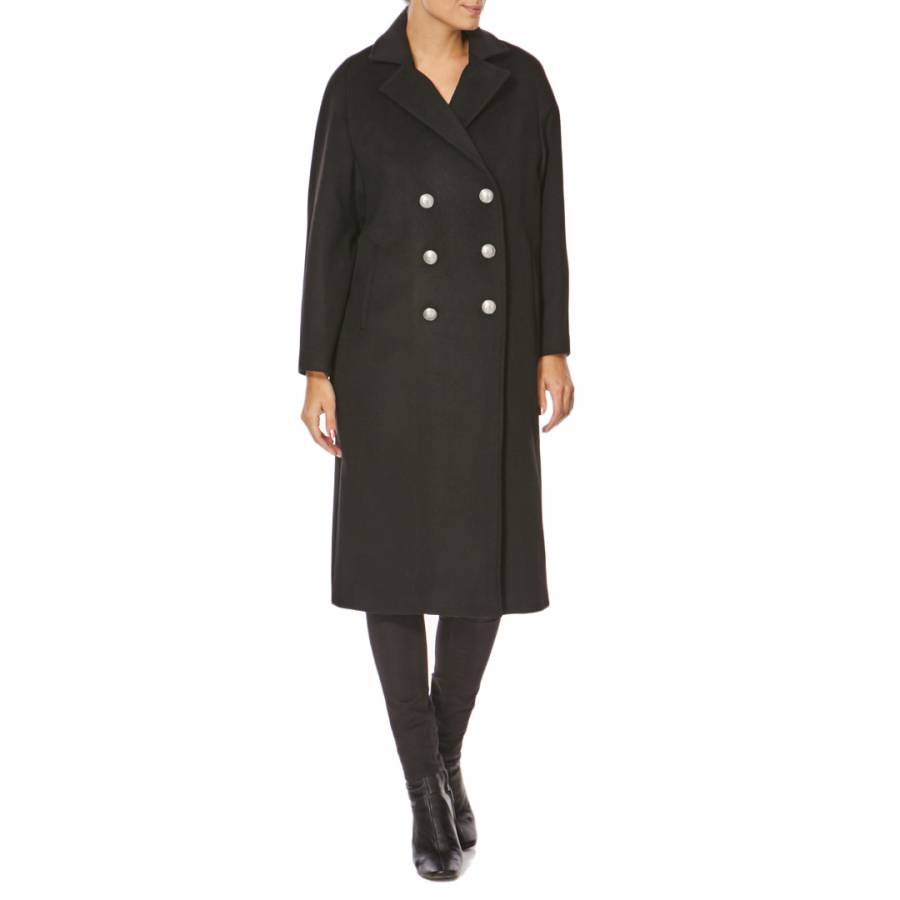 Image of Black Double Breasted Wool Blend Coat