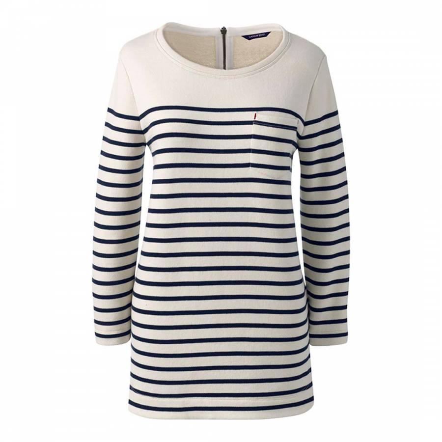 395dde0480d2d1 Zoom · Lands End White Canvas Stripe Jersey Cotton Top