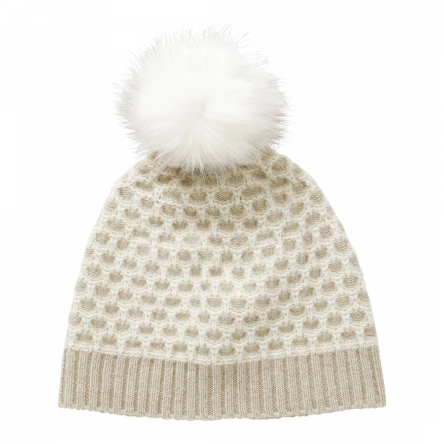 34da7faf8d3a Pure Collection Beige/White Cashmere Textured Hat
