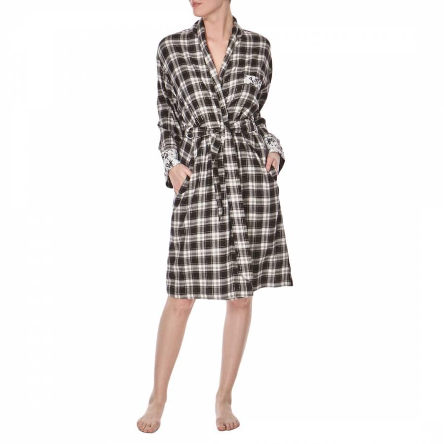 Blackwhite Check Noir Cotton Dressing Gown Brandalley