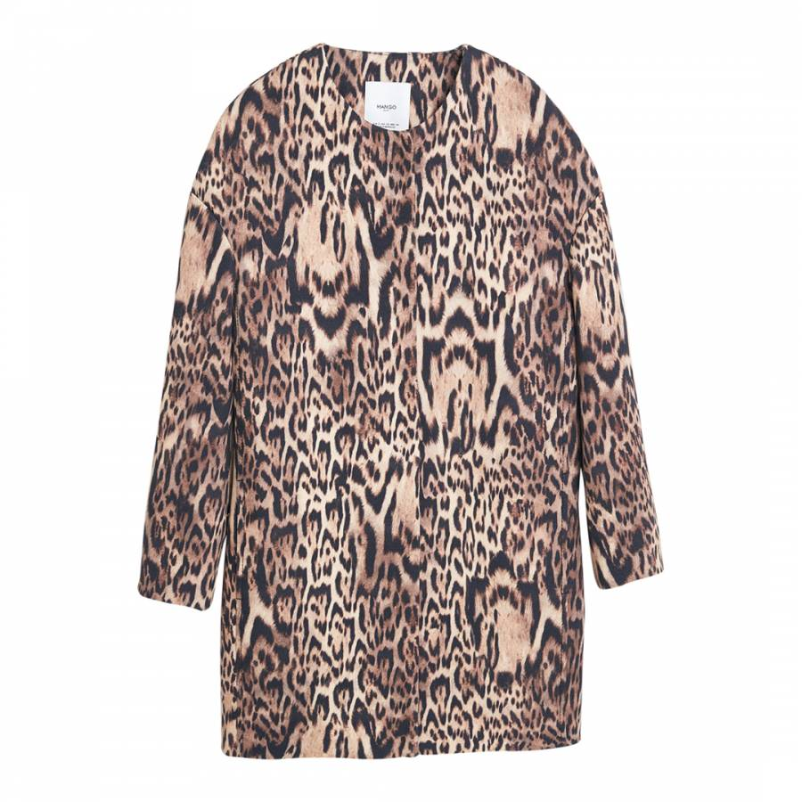 8496af354f6e9f Black Animal Print Leos Coat - BrandAlley