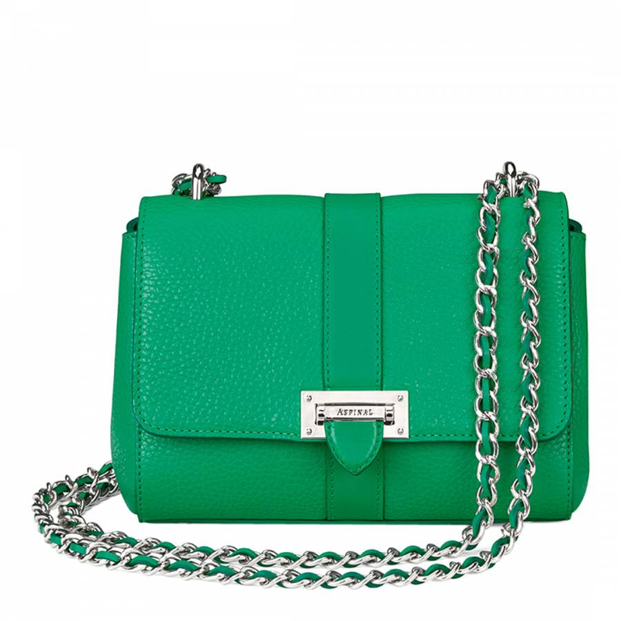 Aspinal of London Grass Green Leather Lottie Bag 2a3b884cf94de