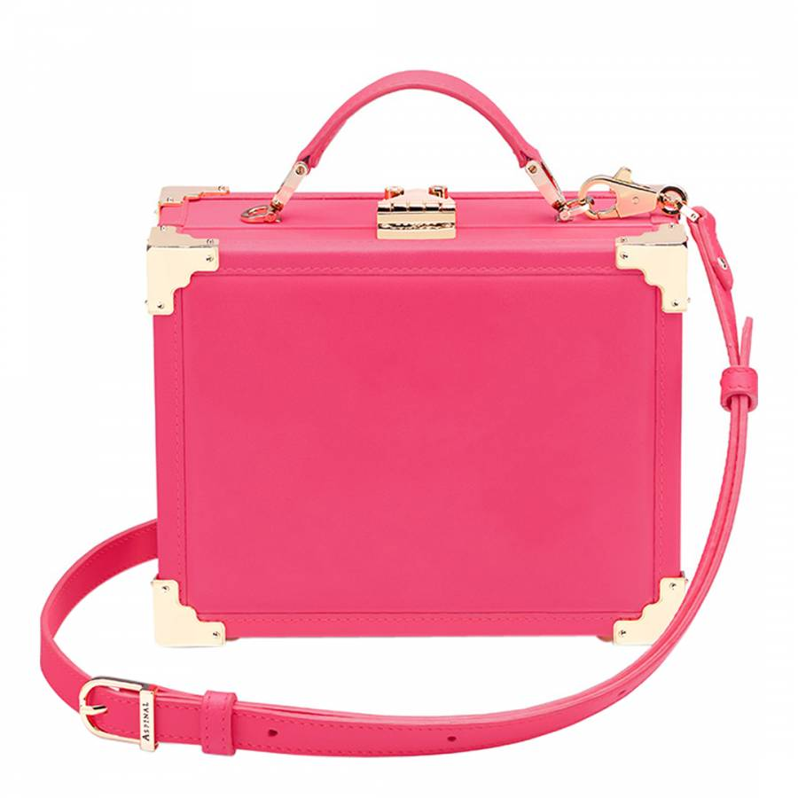 Aspinal of London Neon Pink Leather Mini Trunk Clutch ba0979fb379e0
