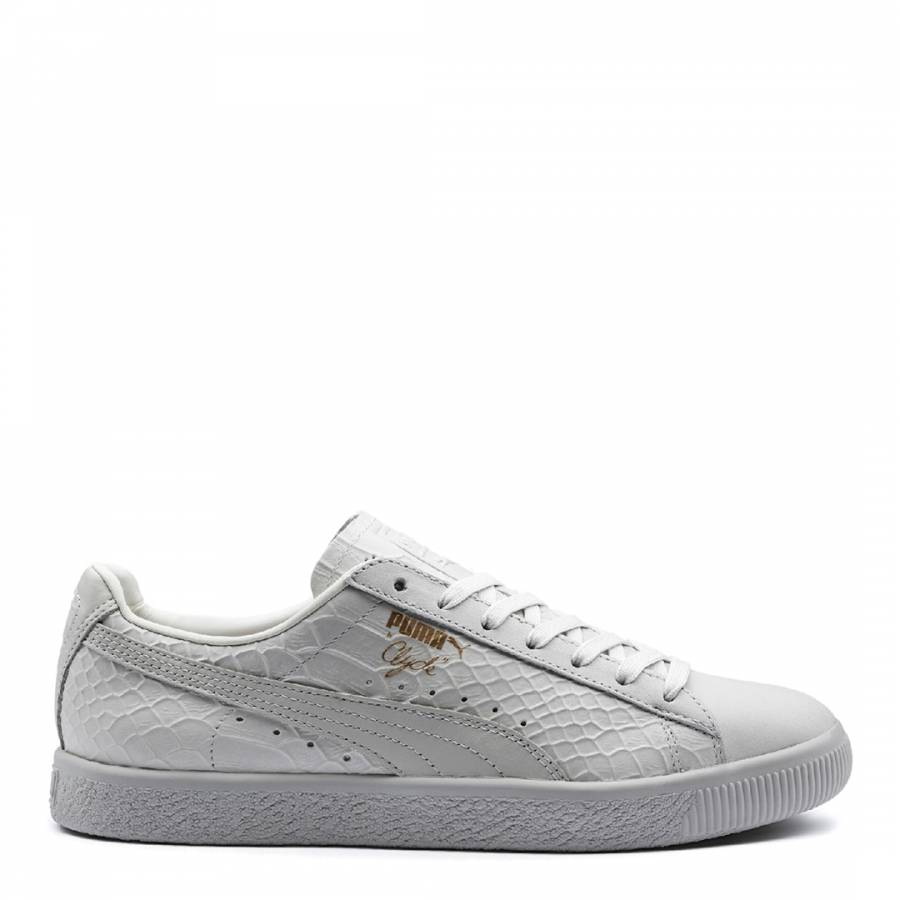 39c99e7ebe4098 Unisex White Leather Clyde Dressed Trainers - BrandAlley