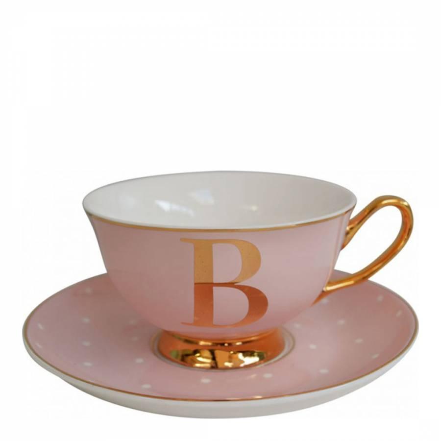 6ee3dfae7b Rose Pink China Alphabet Letter B Spotty Teacup   Saucer - BrandAlley