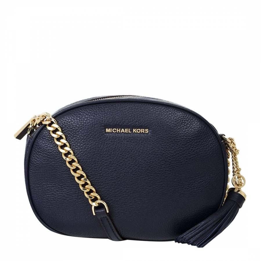 63944713f5f2 Michael Kors Navy Ginny Medium Leather Crossbody Bag