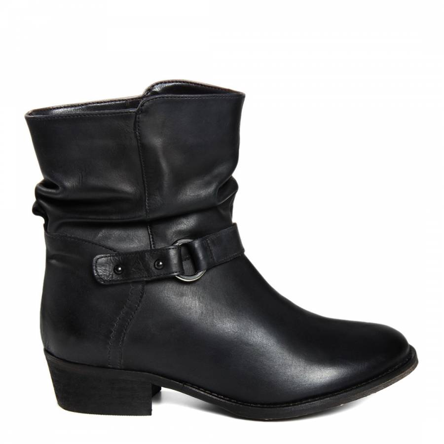 e1fe52b7db Black Leather Vintage Distressed Effect Ankle Boots With Buckle ...