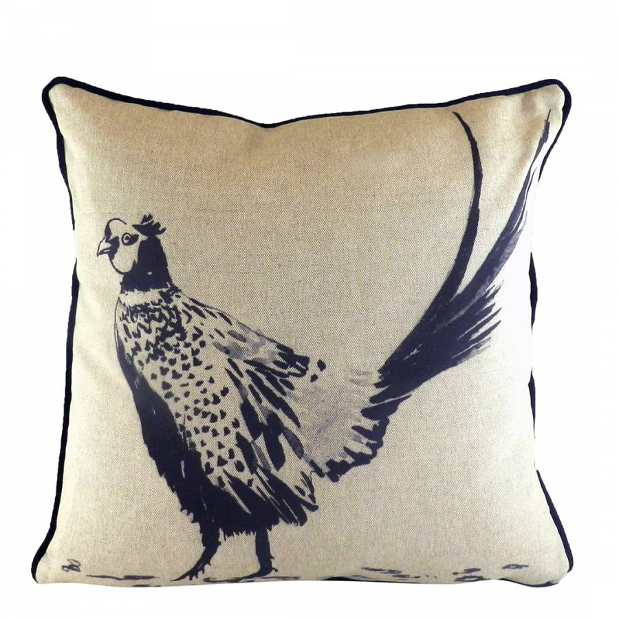 6f2fbaeebc7 Evans Lichfield Ink And White Piped Inky Pheasant Cushion 43 x 43 cm
