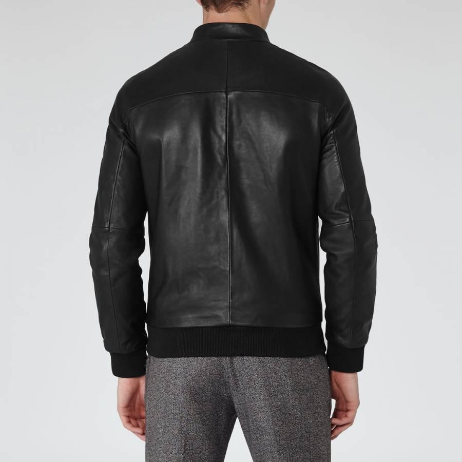 a0d1bfbcf Black Kent Funnel Neck Leather Bomber Jacket - BrandAlley