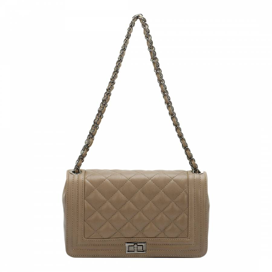 0031cae3fa80 Taupe Leather Quilted Chain Strap Shoulder Bag - BrandAlley