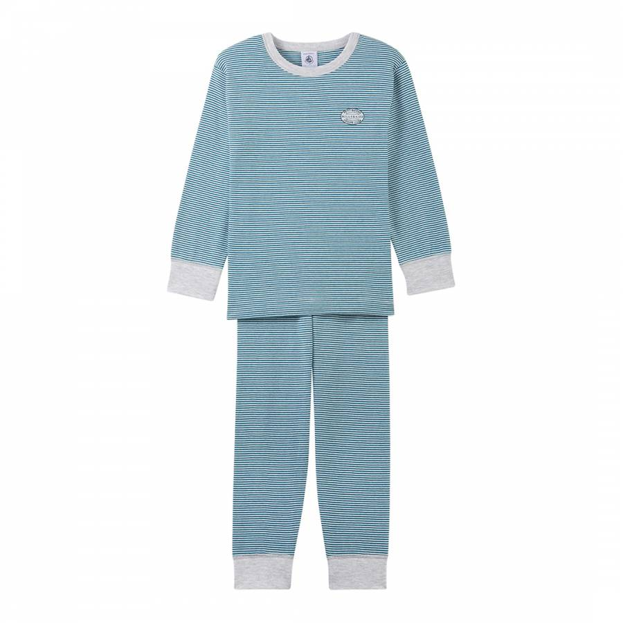 3c37e481bf7c Boy s Blue and White Striped Milleraies Cotton Pyjamas - BrandAlley