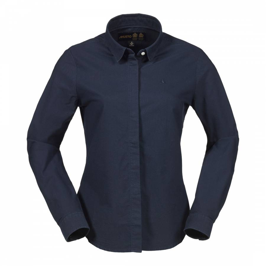 Women 39 S Navy Bow Oxford Long Sleeve Cotton Shirt Brandalley