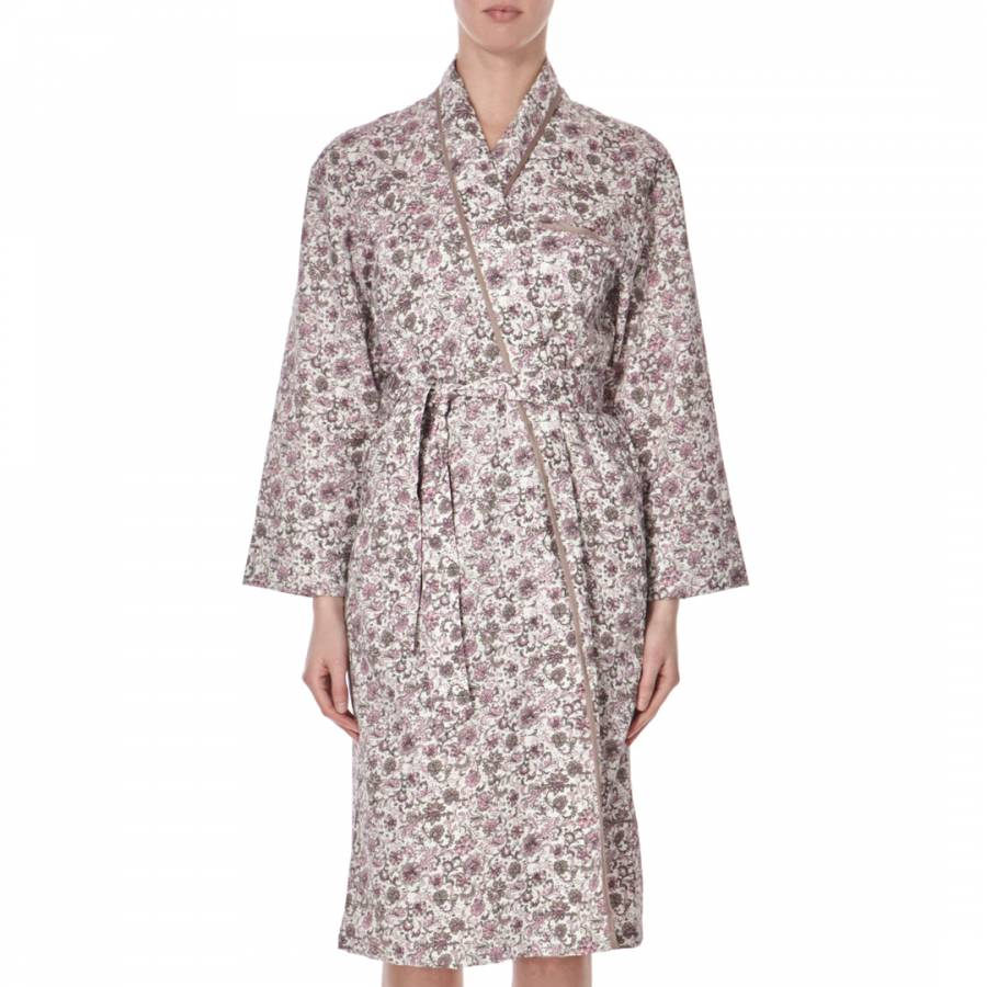 Purple Paisley Floral Cotton Dressing Gown - BrandAlley