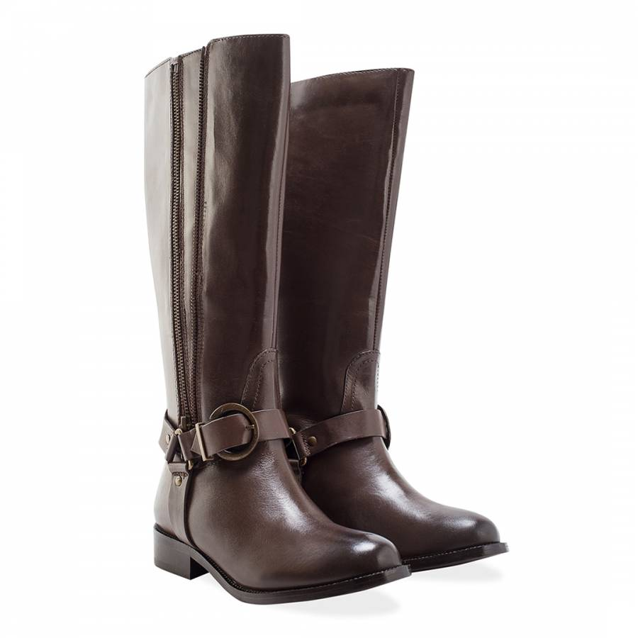 bbae94f5879 Ladies Brown Leather Beatrix Twin Zip Buckle Boots - BrandAlley