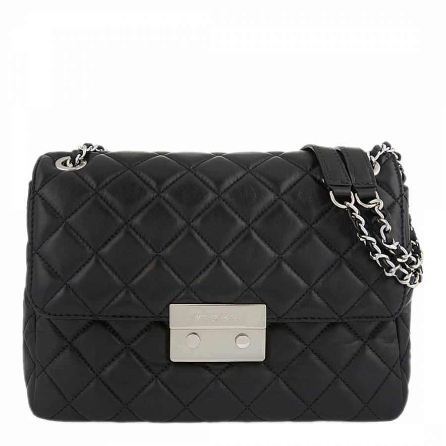 5862d0b05419 Michael Kors Black Leather Extra Large Sloan Chain Shoulder Bag
