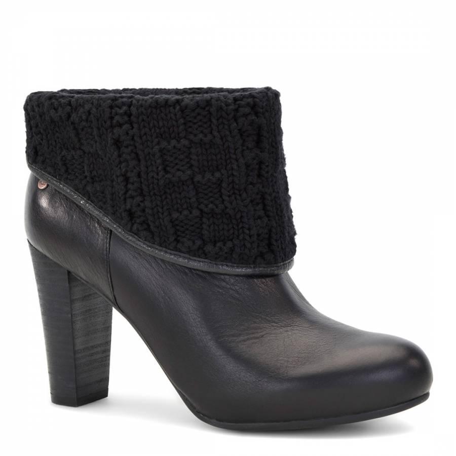 UGG Black Leather Dandylion Tres Heeled Ankle Boots