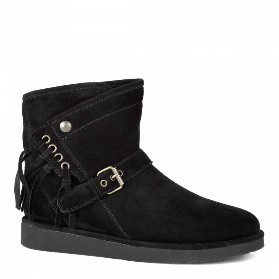 b14cde19369 Black Suede Classic Short Rustic Weave Boots - BrandAlley