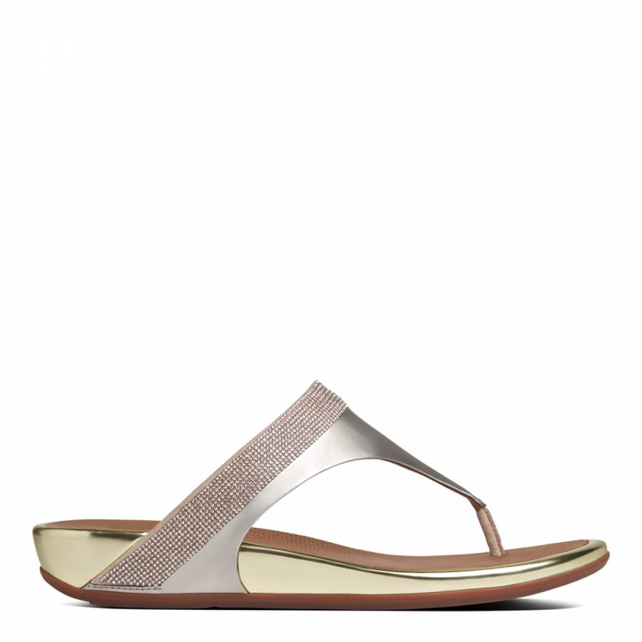 2de91b642a499 Pale Gold Banda Micro-Crystal Toe-Post Sandals - BrandAlley