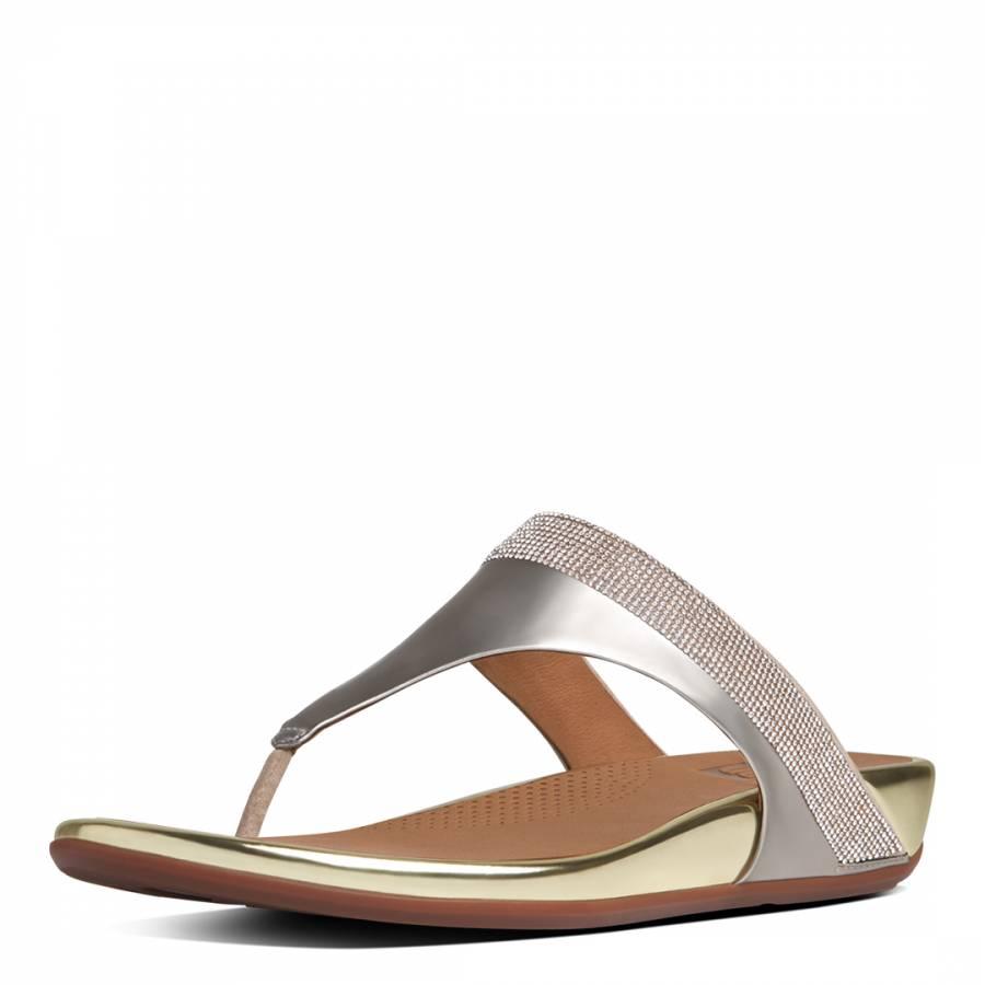 e50d494e3b2 Pale Gold Banda Micro-Crystal Toe-Post Sandals - BrandAlley