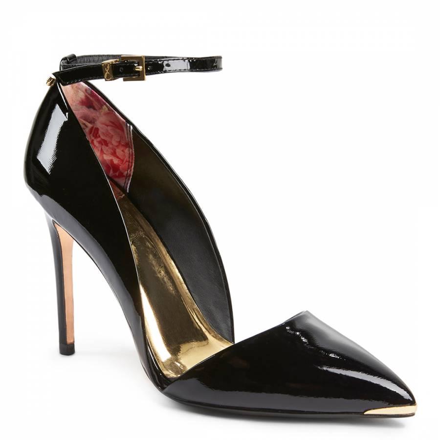 fd4ef4f6267d0 Black Patent Leather Vleyi Ankle Strap Heels - BrandAlley