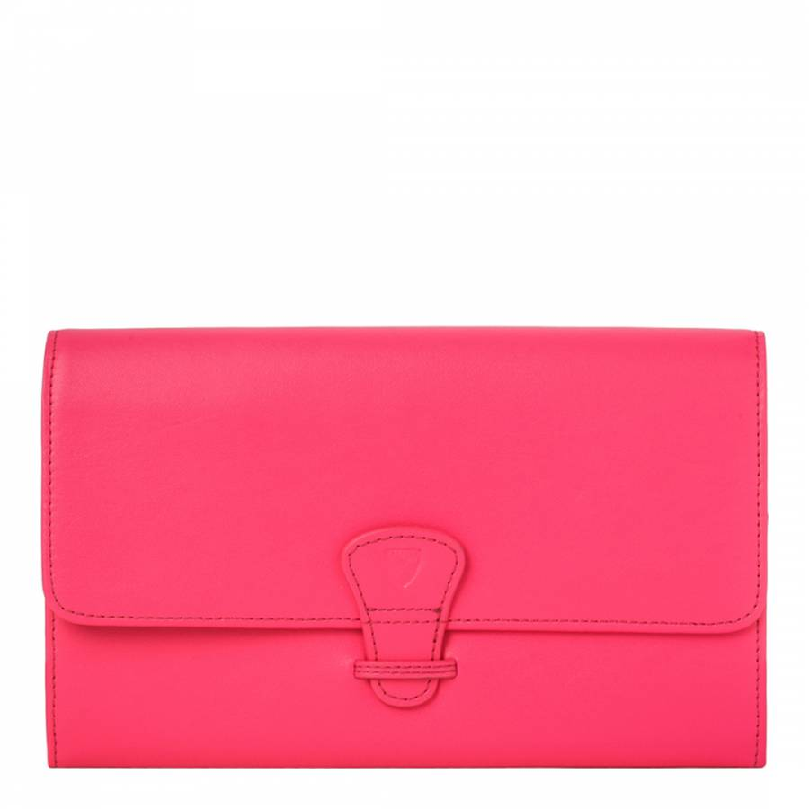 Aspinal of London Neon Pink Smooth Leather Classic Leather Travel Wallet 56e611dc656b3