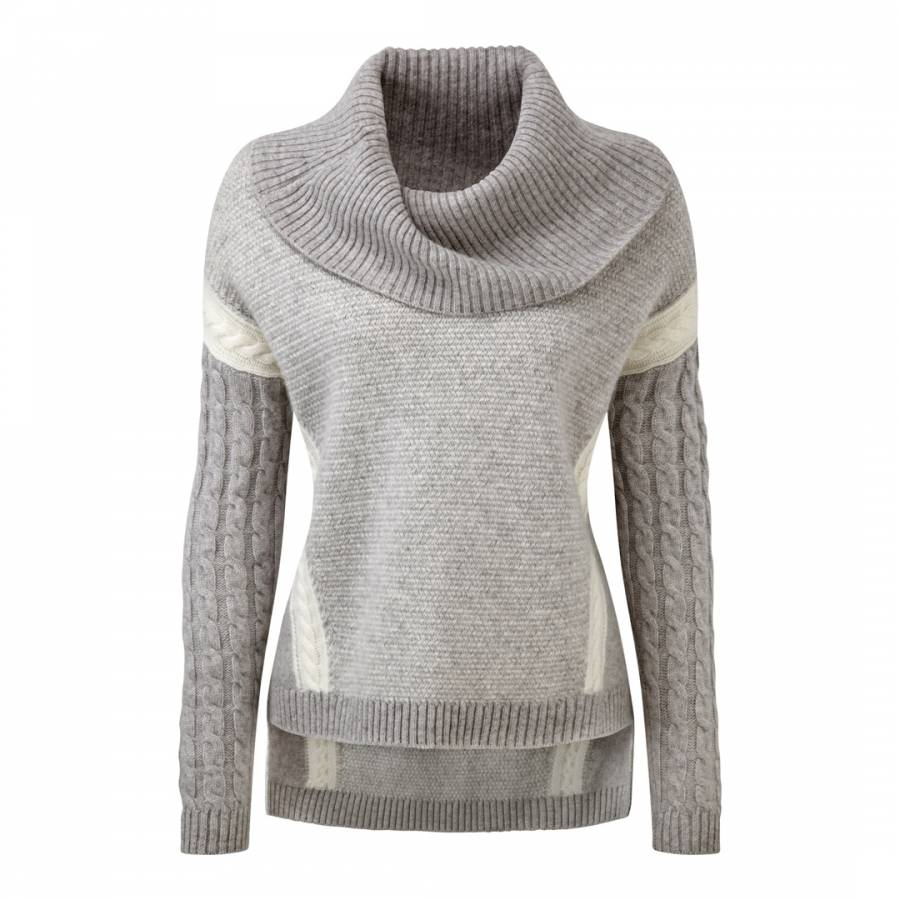 cashmere cable knit cowl neck sweater