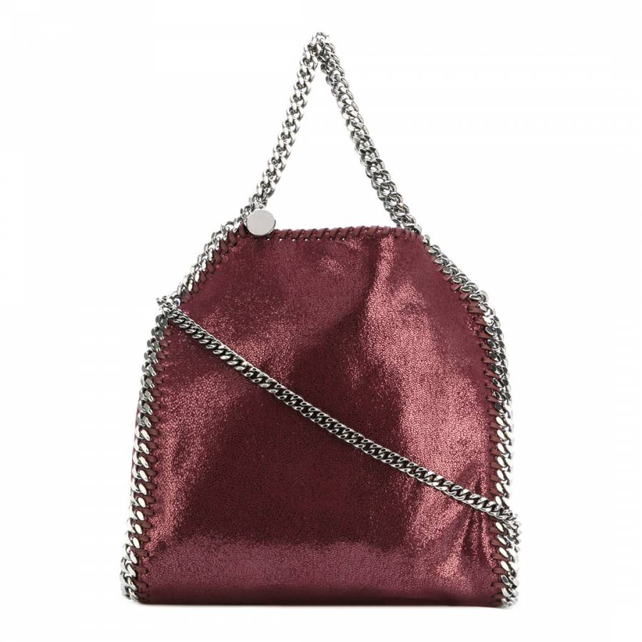 555205907aea Stella McCartney Indian Red Tiny Falabella Shiny Dotted Chamois Tote Bag
