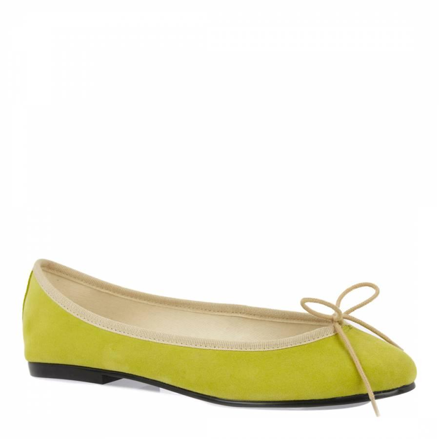 e2d417338654 Lime Green Nubuck India Ballet Flats - BrandAlley