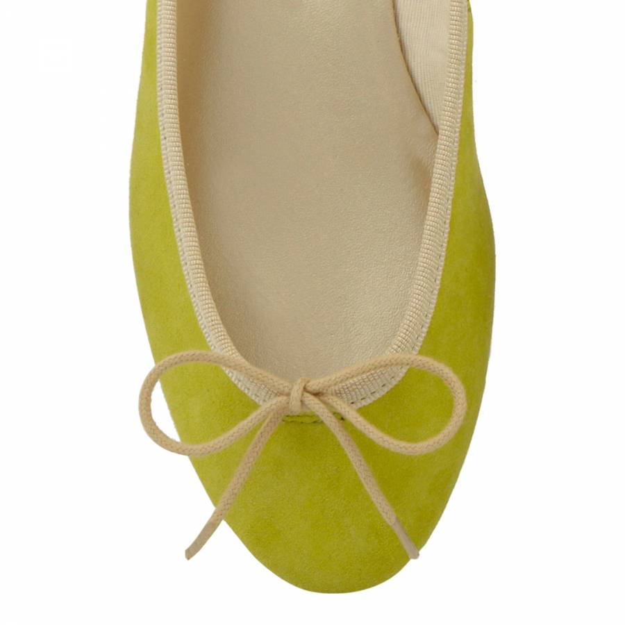 f4b9d59c3 Lime Green Nubuck India Ballet Flats - BrandAlley